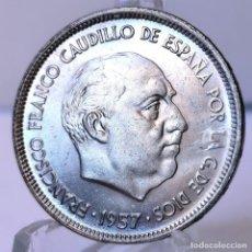 Monedas Franco: ⚜️ B2237. EBC+ / EBC++. ERROR. 25 PESETAS 1957 *66. ERROR LEYENDA. AC720. Lote 262976195