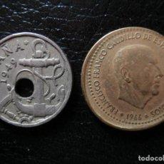 Monedas Franco: 2 MONEDAS - 50 CENTIMOS 1949 AGUJERO DESPLAZADO- -1 PESETA 1966 TROQUEL DESPLAZADO-.. Lote 263304300