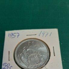 Monedas Franco: 1957 *71 SIN CIRCULAR FRANCISCO FRANCO 50 PESETAS PROCEDENTE TIRA NUMISMÁTICA COLISEVM. Lote 269619853
