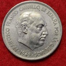 Monedas Franco: MONEDA 5 PESETAS 1949 ESTRELLAS VISIBLES 19 49 EBC- ORIGINAL C3. Lote 270616288