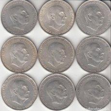 Monedas Franco: ESTADO ESPAÑOL: 9 MONEDAS - 100 PESETAS 1966 / PLATA. Lote 275852348