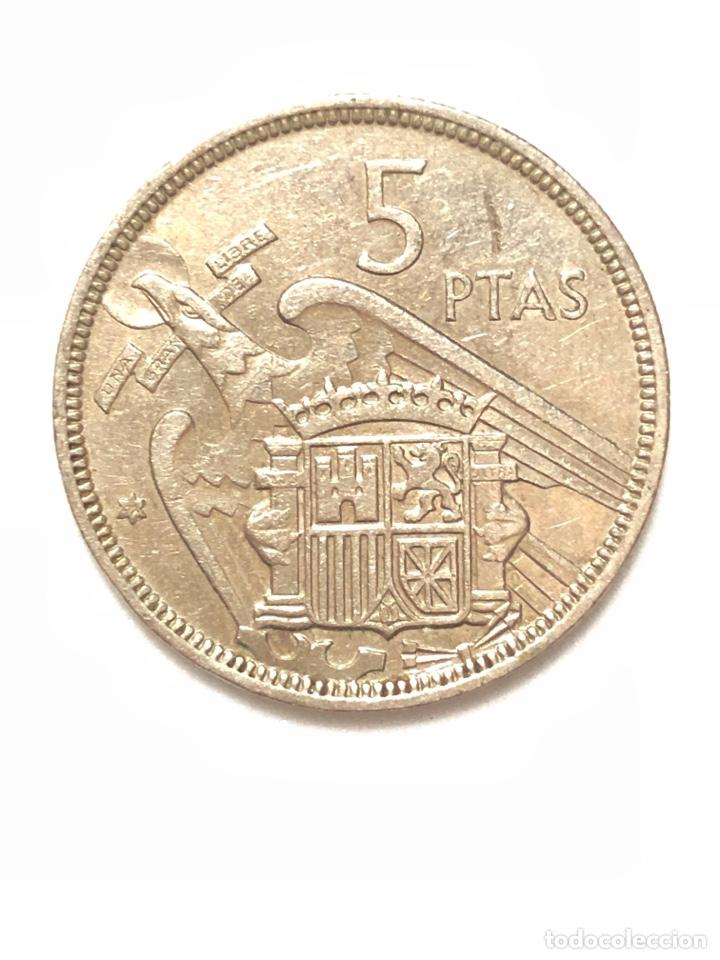 Monedas Franco: 5 pesetas de 1957 estrella del 72. - Foto 2 - 278553173