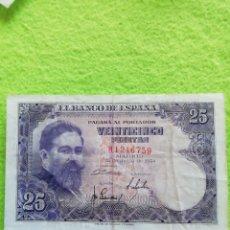 Monedas Franco: UN BILLETE DE 25 PESETAS DE 1954 BIEN CONSERVADO... Lote 288073803