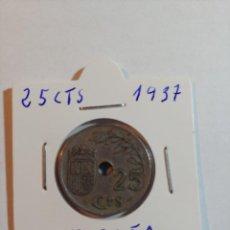 Monedas Franco: MONEDA DE ESPAÑA DE 25 CENTIMOS DEL AÑO 1937 B/C. Lote 288918023