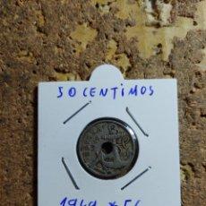Monedas Franco: MONEDA DEL ESTADO ESPAÑOL DE 50 CENTIMOS DEL AÑO 1949 * 56. Lote 289430443