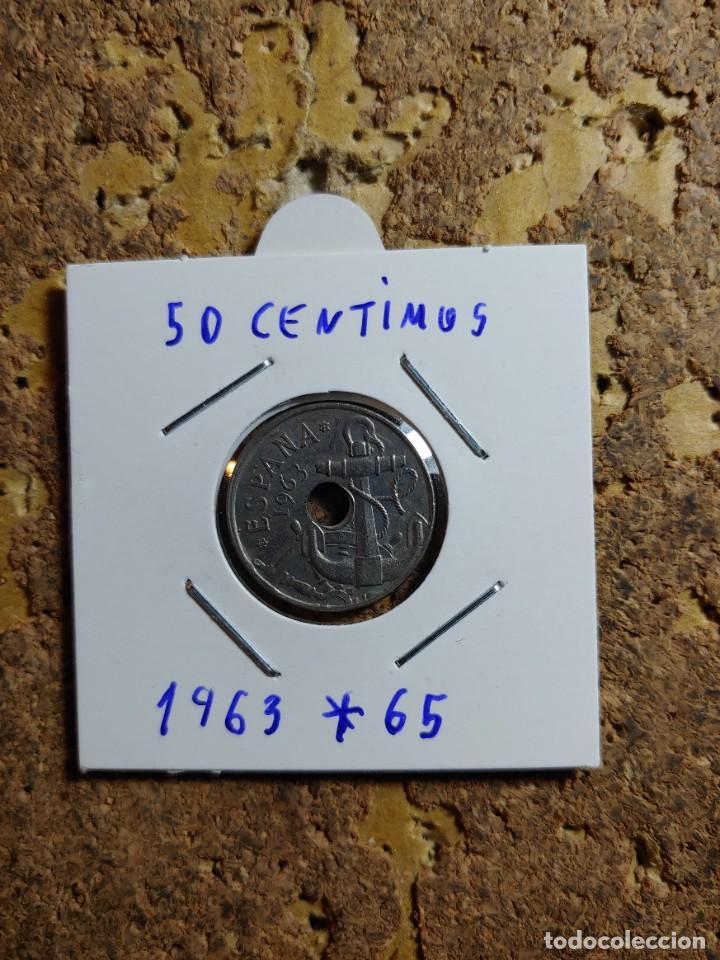 MONEDA DEL ESTADO ESPAÑOL DE 50 CENTIMOS DEL AÑO 1963 * 65 (Numismática - España Modernas y Contemporáneas - Estado Español)