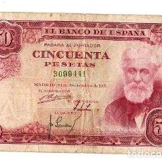 Monedas Franco: CINCUENTA PESETAS *** 31 DICIEMBRE 1951 **** SANTIAGO RUSIÑOL. Lote 289760673