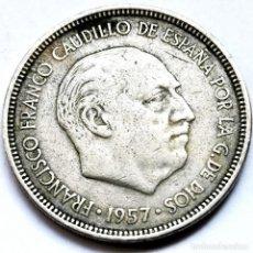 Monedas Franco: ⚜️ FECHA CLAVE, ERROR. 5 PESETAS 1957 *63. REPINTES. AF010. Lote 289789273