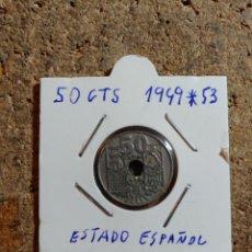 Monedas Franco: MONEDA DEL ESTADO ESPAÑOL DE 50 CENTIMOS DEL AÑO 1949 * 53. Lote 289849408