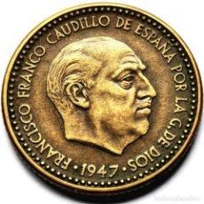 Monedas Franco: ⚜️ A2228. *49. FECHA SEMICLAVE 1 PESETA 1947 *49. PLUS ULTRA. Lote 289894838