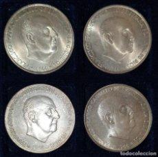 Monedas Franco: LOTE 4 MONEDAS ESPAÑA 100 PESETAS 1966 *66 *67 *68 *70PLATA SIN CIRCULAR FRANCO ESTADO ESPAÑOL. Lote 292335978