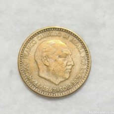 Monedas Franco: PRECIOSA Y LA MÁS ESCASA DE SUBSERIE , 1 PESETA 1963 *67 EBC-. Lote 293356713