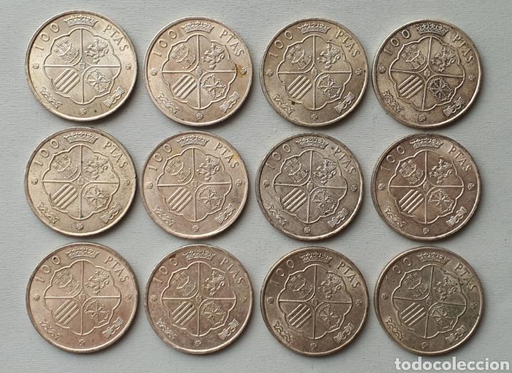 LOTE 12 MONEDAS PLATA FRANCO 1966 100 PESETAS (Numismática - España Modernas y Contemporáneas - Estado Español)