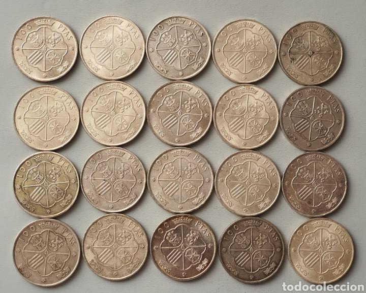 LOTE 20 MONEDAS 100 PESETAS PLATA 1966 FRANCO (Numismática - España Modernas y Contemporáneas - Estado Español)