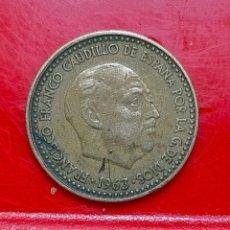 Monedas Franco: S.048. 1 PTA. 1963 *64. EXTRAÑO HILO EN EL REVERSO.. Lote 295384768