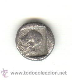 Monedas Grecia Antigua: RARA DRACMA DE LAMPSAKOS MYSIA 480-450 A.C. CABEZ JANIFORME CON FICHA PROCEDENTE DE SUBASTA. - Foto 2 - 26853525