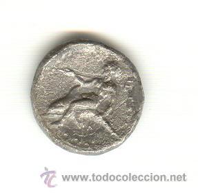RARA DIDRACMA TARAS CALABRIA ITALIA 344-334 A.C FICHA DE SUBASTA. (Numismática - Periodo Antiguo - Grecia Antigua)