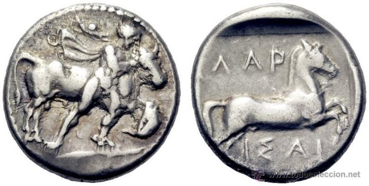 MONEDA GRIEGA ANTIGUA. LARISSA.THESALIA. DRACMA EGINÉTICO.480-430 A.C THESALOS DOMANDO TORO, CABALLO (Numismática - Periodo Antiguo - Grecia Antigua)