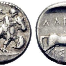 Monedas Grecia Antigua: MONEDA GRIEGA ANTIGUA. LARISSA.THESALIA. DRACMA EGINÉTICO.480-430 A.C THESALOS DOMANDO TORO, CABALLO. Lote 53512622