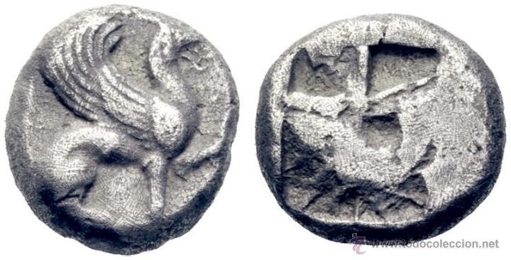 GRIEGA ANTIGUA TEOS. JONIA. HEMIESTÁTERA 530 A.C.ANVERSO CON GRIFO SENTADO 5,8 GR CERTIFICADA CAYON (Numismática - Periodo Antiguo - Grecia Antigua)
