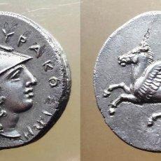 Monedas Grecia Antigua: PRECIOSA MONEDA GRIEGA PLATA ESTATERA TIMOLEON SIRACUSA SICILIA 330 - 310 AC CABALLO PEGASO. Lote 66997230