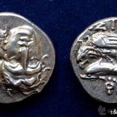 Monedas Grecia Antigua: PRECIOSA MONEDA GRIEGA PLATA DRACMA MOESIA ISTROS CABEZAS JUNTA AGUILA DELFÍN 400 AC EX-JA HERRERO. Lote 103687963