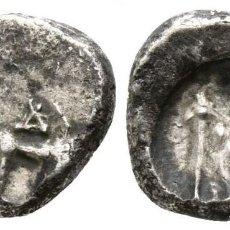 Monedas Grecia Antigua: GRECIA BIZANCIO TRACIA! PLATA! HEMIDRACMA! TORO // TRIDENTE! 1,75 G / 12 MM MBC-. Lote 108280395