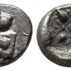 Monedas Grecia Antigua: GRECIA! IONIA MILETOS DIOBOL PLATA! LEON / CUADRADO INCUSO CON ORNAMENTOS FLORALES 1,15 G-10 MM EBC. Lote 110492151