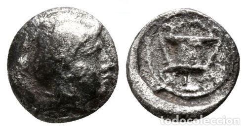 GRECIA! LESBOS! METIMNA (METHYMNA)! HEMIOBOLO (HEMIOBOL)! PLATA! MBC ATHENA / KANTHAROS 0,41 G 8 MM (Numismática - Periodo Antiguo - Grecia Antigua)