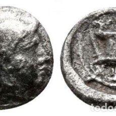 Monedas Grecia Antigua: GRECIA! LESBOS! METIMNA (METHYMNA)! HEMIOBOLO (HEMIOBOL)! PLATA! MBC ATHENA / KANTHAROS 0,41 G 8 MM. Lote 110493111