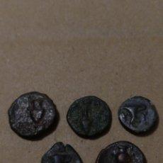 Monedas Grecia Antigua: T- CINCO MONEDAS GRIEGA CON ANFORAS RECIPIENTES VINO UVA VID AGUA ETC VER FOTOS. Lote 145354082