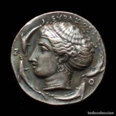 Monedas Grecia Antigua: REPRODUCCION DE TETRADRACMA DE SIRACUSA, 317-310 A.C.. Lote 147573274