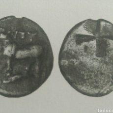 Monedas Grecia Antigua: GRECIA ANTIGUA HEMIDRACMA 416-357 AC BIZANTION TRACIA TORO DELFIN 2,05 GR PATINA MBC CERTIFICADA. Lote 162726906