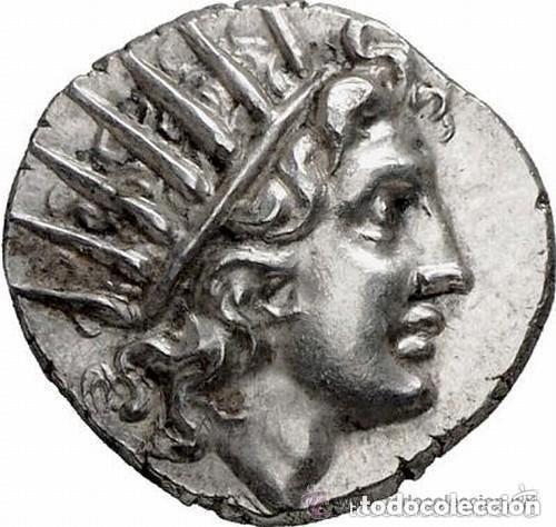 PRECIOSA MONEDA GRIEGA PLATA DRACMA RODAS CABEZA HELIOS DERECHA / ROSA 125-88 AC EX-GORNY & MOSCH (Numismática - Periodo Antiguo - Grecia Antigua)