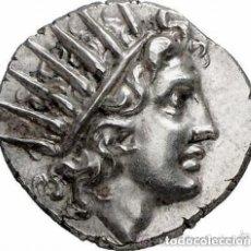 Monedas Grecia Antigua: PRECIOSA MONEDA GRIEGA PLATA DRACMA RODAS CABEZA HELIOS DERECHA / ROSA 125-88 AC EX-GORNY & MOSCH. Lote 174236959