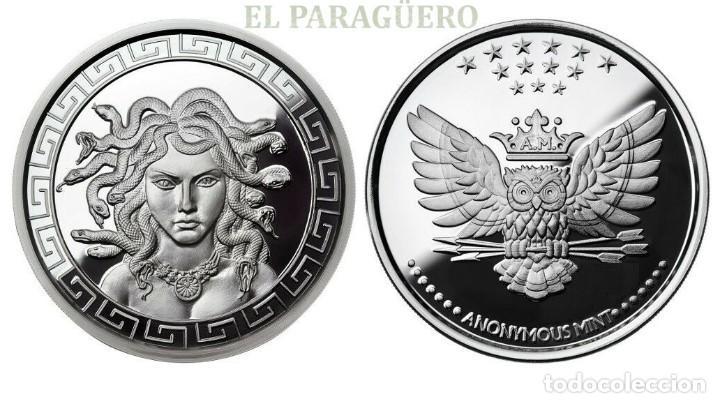 GRECIA MEDALLA TIPO MONEDA PLATA ( CABEZA DE MEDUSA GRIEGA Y BUHO ) - PESO 36 GRAMOS - Nº5 (Numismática - Periodo Antiguo - Grecia Antigua)