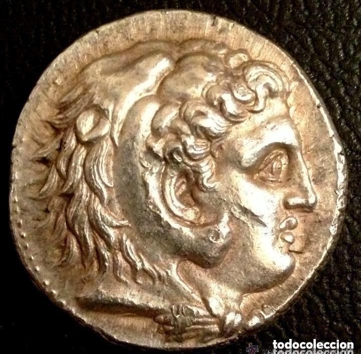 MONEDA GRIEGA TETRADRACMA FILIPO III CABEZA ALEJANDRO MAGNO CUBIERTO CON PIEL DE LEÓN MACEDONIA (Numismática - Periodo Antiguo - Grecia Antigua)