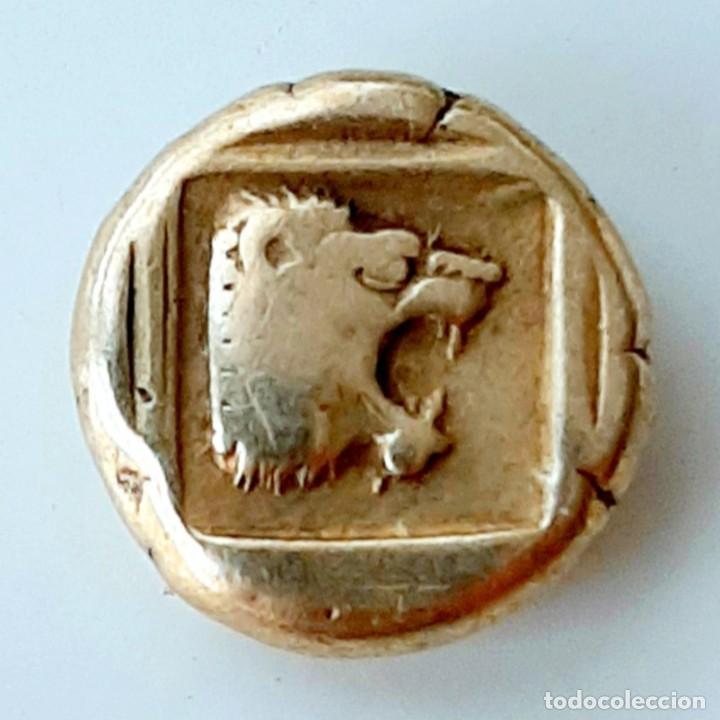 """1/6 ESTÁTERA-STATER (HEKTE) ELECTRO MYTILENE CIRCA454-427 A.C. JABALÍ """"ENCABRITADO""""-LEÓN """"RUGIENDO"""". (Numismática - Periodo Antiguo - Grecia Antigua)"""