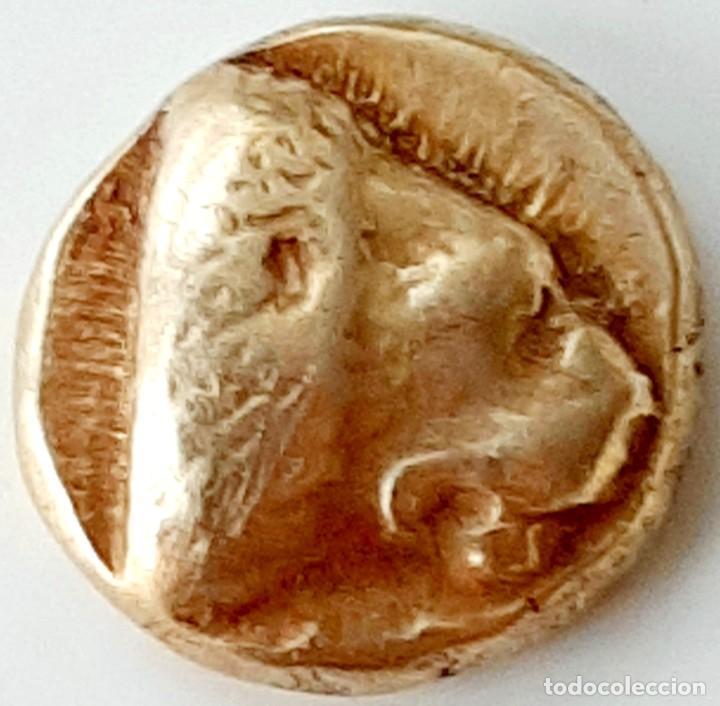 Monedas Grecia Antigua: 1/6 Estátera-Stater (Hekte) Electro Mytilene circa 478-455 a.c. León-Buey incuso - Foto 4 - 214660771