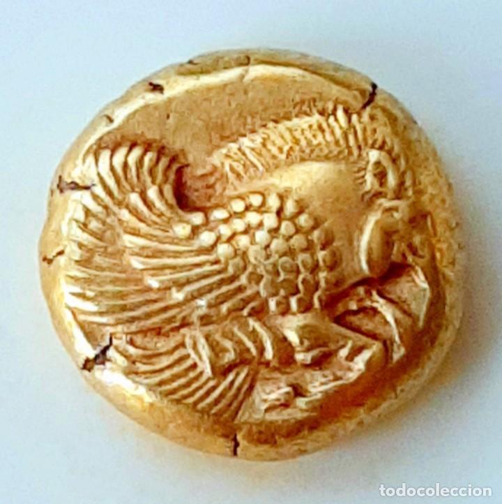 """1/6 ESTÁTERA-STATER (HEKTE) ELECTRO MYTILENE CIRCA 521-478 A.C. JABALÍ ALADO-LEÓN INCUSO """"RUGIENDO"""". (Numismática - Periodo Antiguo - Grecia Antigua)"""