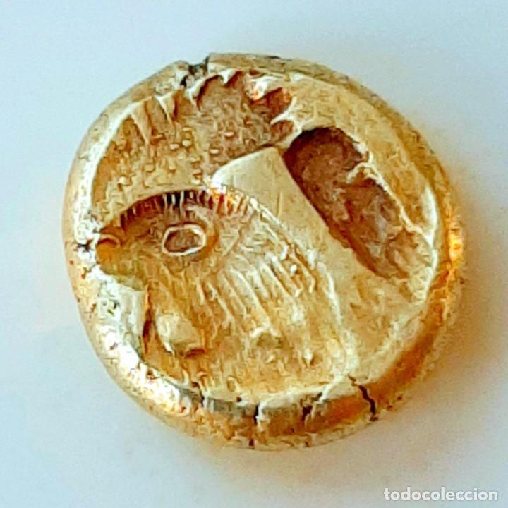 """Monedas Grecia Antigua: 1/6 Estátera-Stater (Hekte) Electro Mytilene circa 521-478 a.c. León alado """"rugiendo""""-Gayo - Foto 2 - 214665797"""