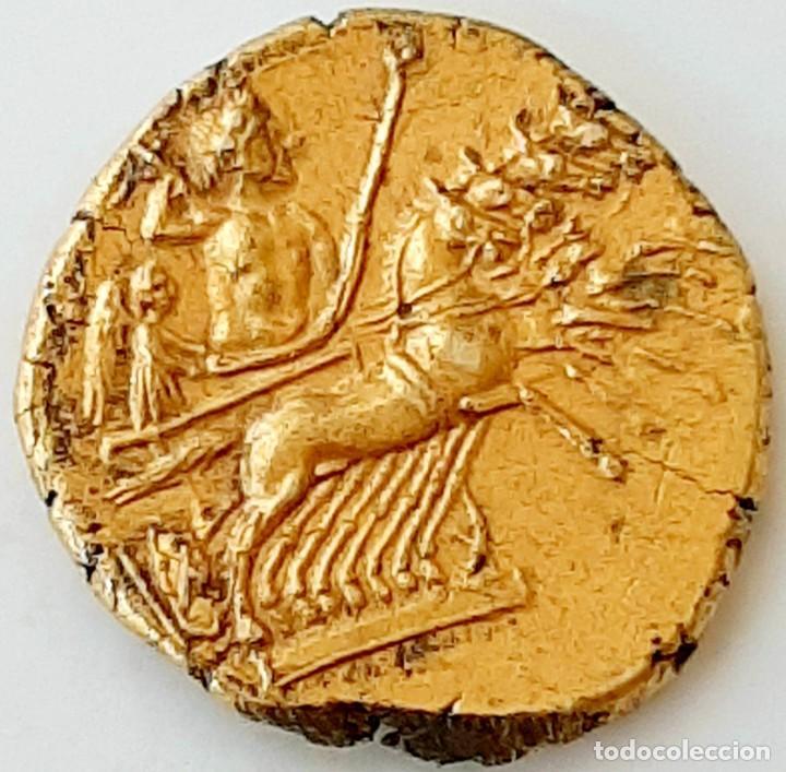 3/8 SHEKEL ELECTRO CARTAGINÉS CIRCA 215-205 A.C BRUTTIUM. JANIFORME-CUÀDRIGA (Numismática - Periodo Antiguo - Grecia Antigua)