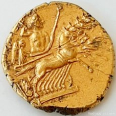 Monedas Grecia Antigua: 3/8 SHEKEL ELECTRO CARTAGINÉS CIRCA 215-205 A.C BRUTTIUM. JANIFORME-CUÀDRIGA. Lote 214767641