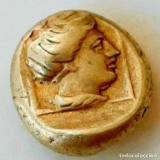 "Monedas Grecia Antigua: 1/6 ESTÁTERA-STATER (HEKTE) ELECTRO MYTILENE CA 377-326 A.C. APOLO ""LAUREADO""-ARTEMISA ""ENCUADRADA"". Lote 214832207"