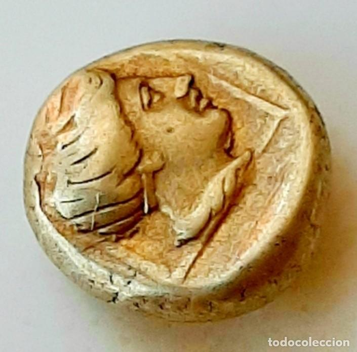 "Monedas Grecia Antigua: 1/6 Estátera-Stater (Hekte) Electro Mytilene ca 377-326 a.c. Apolo ""laureado""-Artemisa ""encuadrada"" - Foto 3 - 214832207"