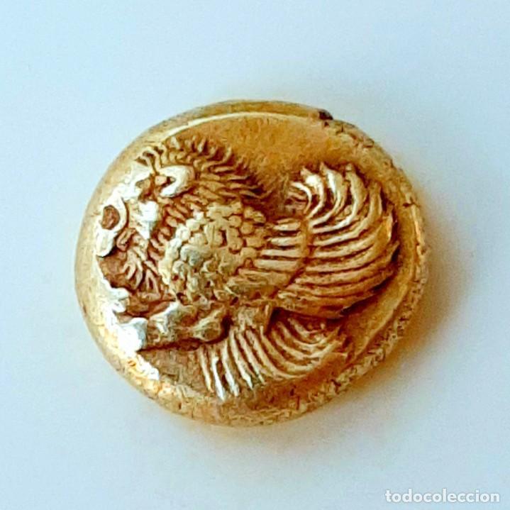 """Monedas Grecia Antigua: 1/6 Estátera-Stater (Hekte) Electro Mytilene circa 521-478 a.c. León alado """"rugiendo""""-Gayo - Foto 5 - 214665797"""