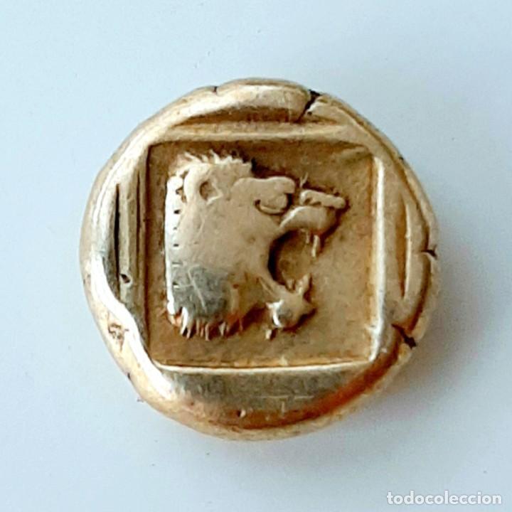 """Monedas Grecia Antigua: 1/6 Estátera-Stater (Hekte) Electro Mytilene circa454-427 a.c. Jabalí """"encabritado""""-León """"rugiendo"""". - Foto 5 - 214649617"""