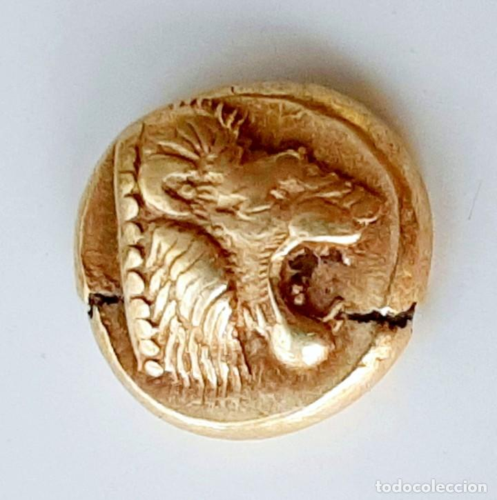 "Monedas Grecia Antigua: 1/6 Estátera-Stater (Hekte) Electro Mytilene circa 521-478 a.c. León ""rugiendo""-Ternero - Foto 9 - 214657126"