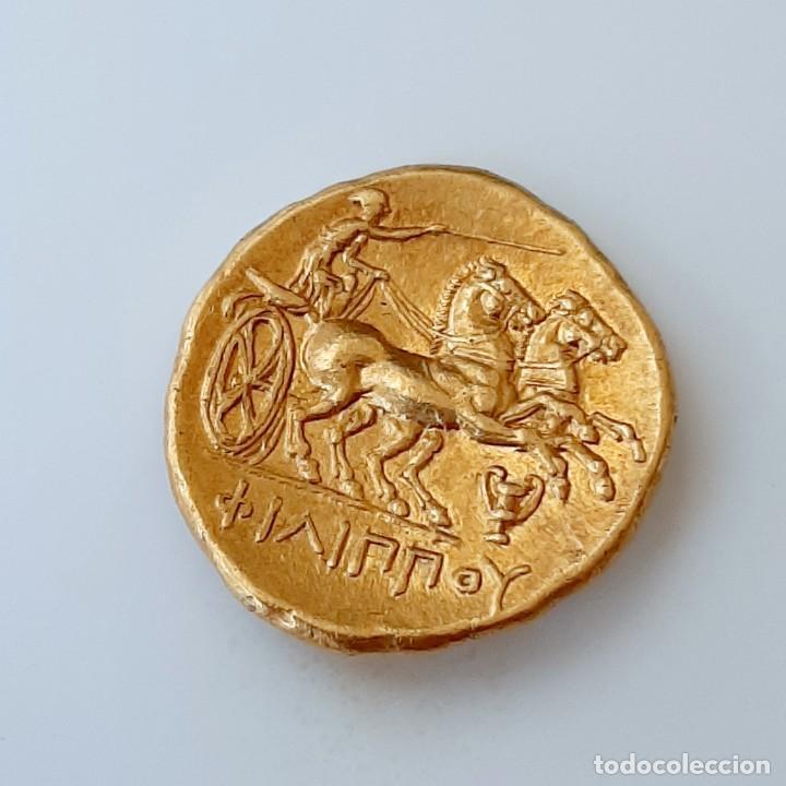Monedas Grecia Antigua: Estátera-Stater Oro Filipo II circa 340-328 a.c. Pella - Foto 4 - 214769715