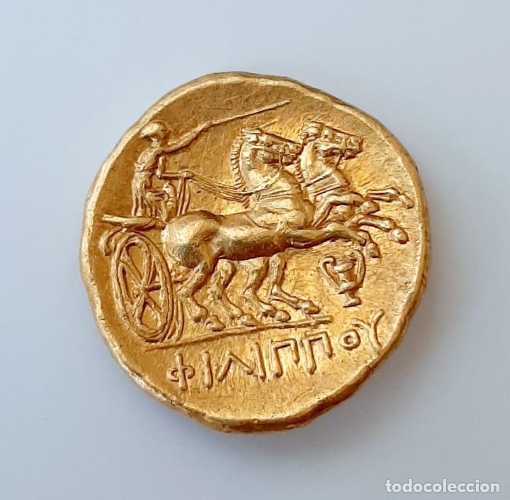Monedas Grecia Antigua: Estátera-Stater Oro Filipo II circa 340-328 a.c. Pella - Foto 6 - 214769715